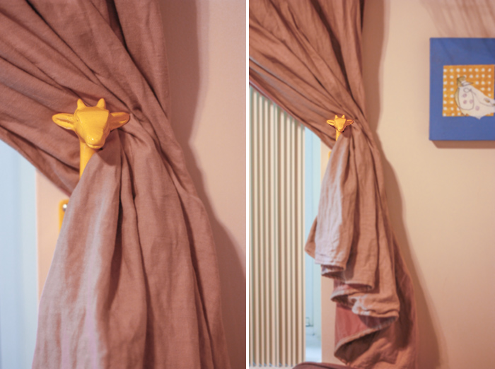 home {away from home} yellow giraffe curtain holdbacks - live free