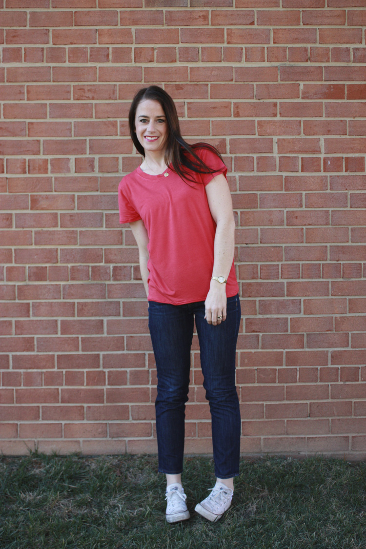 Basic Tee Construction - One Little Minute Blog - Favorite Tee Remade