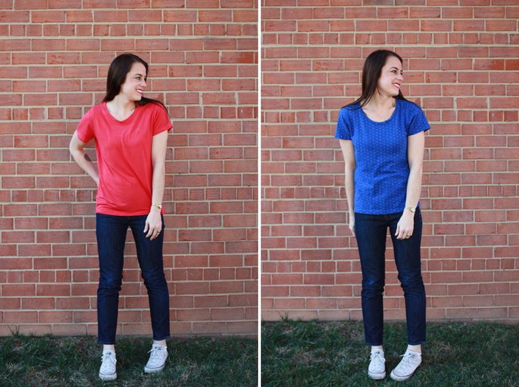 Basic Tee Construction - One Little Minute Blog - Favorite Tee Remake