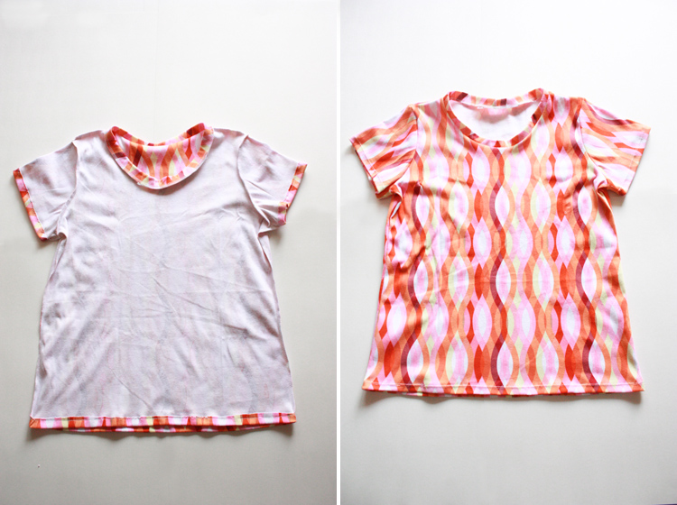 Basic Tee Shirt Construction - One Little Minute Blog - Finished Tee!