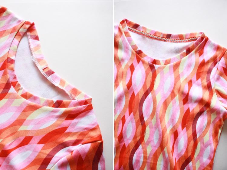 Basic Tee Shirt Construction - One Little Minute Blog - adding detail to inside seam