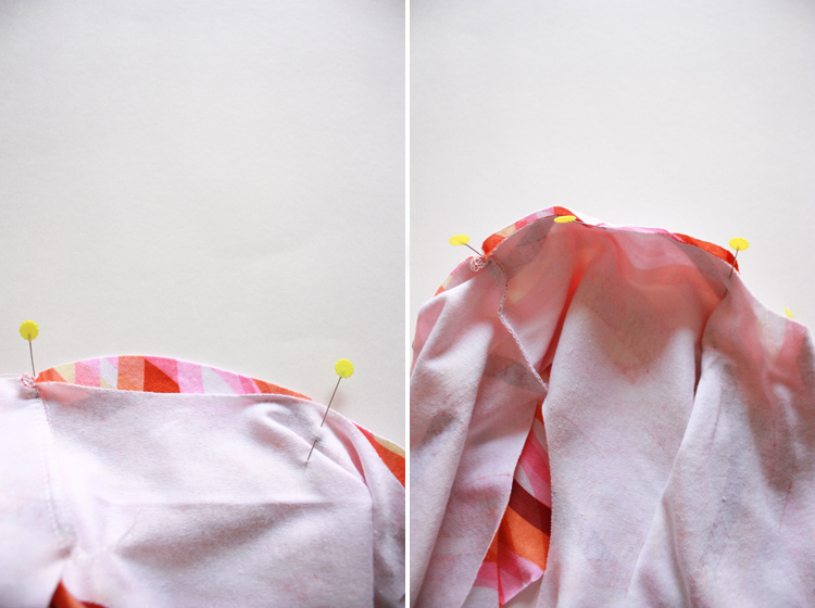 Basic Tee Shirt Construction - One Little Minute Blog - round out the sleeve to get a nice sleeve seam