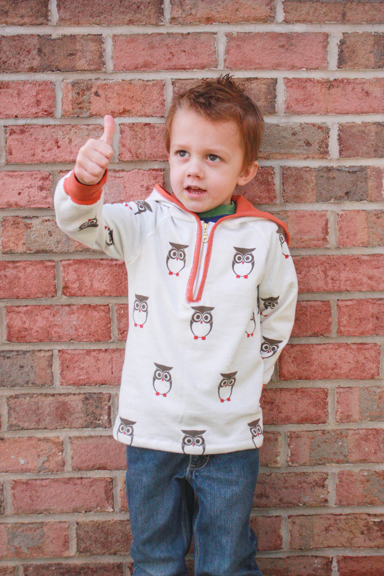 Stretch Yourself Series Review - One Little Minute Blog-Ottobre Owl Hoodie is kid-approved!