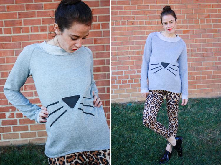 Alt Summit Wardrobe- One Little Minute Blog - Cat Face Sweatshirt