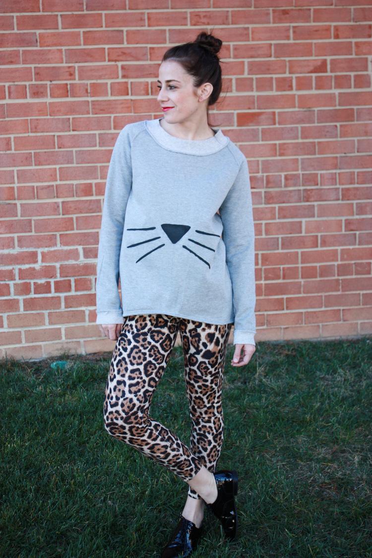 Alt Summit Wardrobe - One Little Minute - Cat Face Sweatshirt