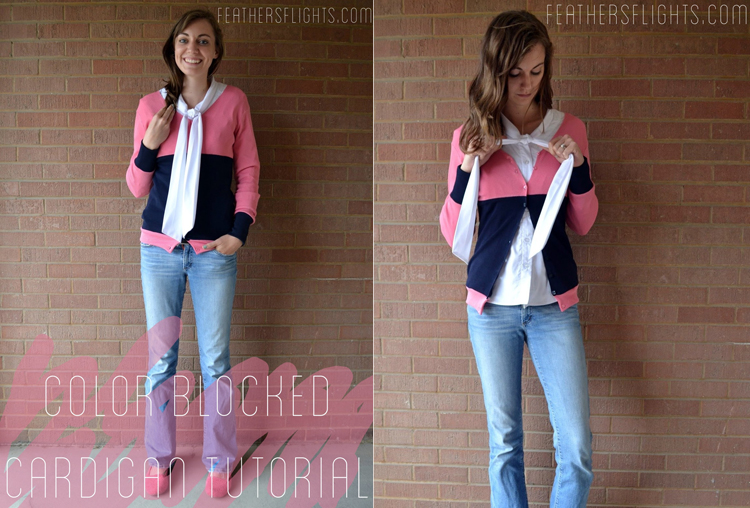 Color Blocked Cardigan by Feather's Flights- Stretch Yourself Series at One Little Minute Blog