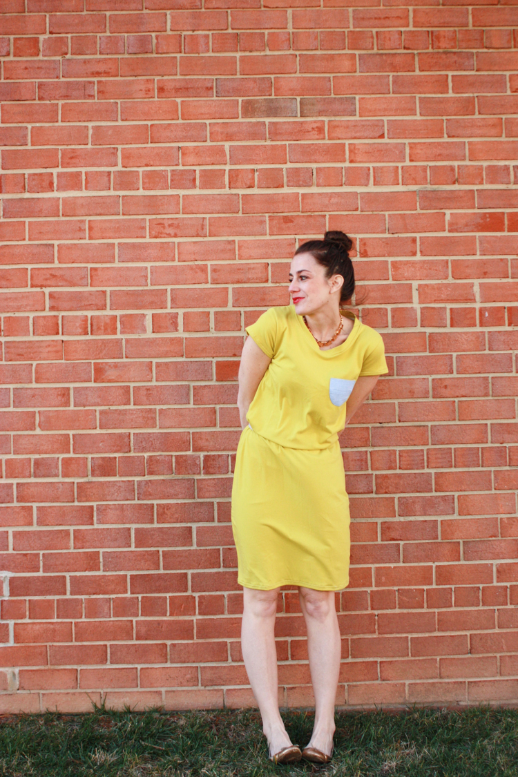 Draft and Sew Dress from Tee- One Little Minute Blog-Love this Tee Shirt Dress!