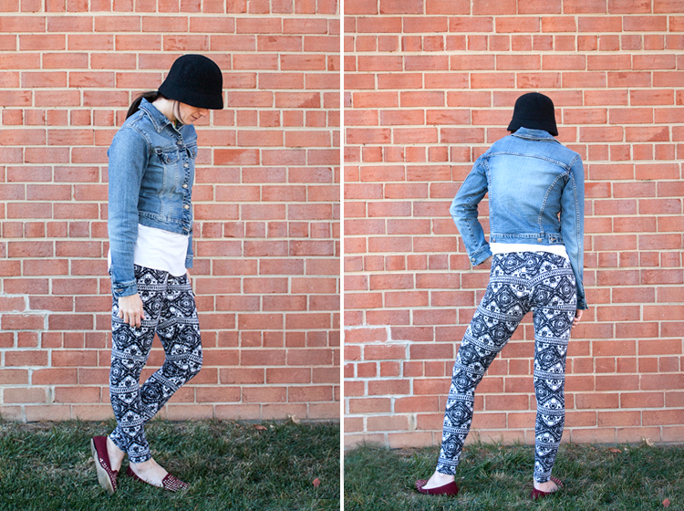 Draft and Sew Leggings _ One Little Minute Blog -Stretchy Tribal Leggings