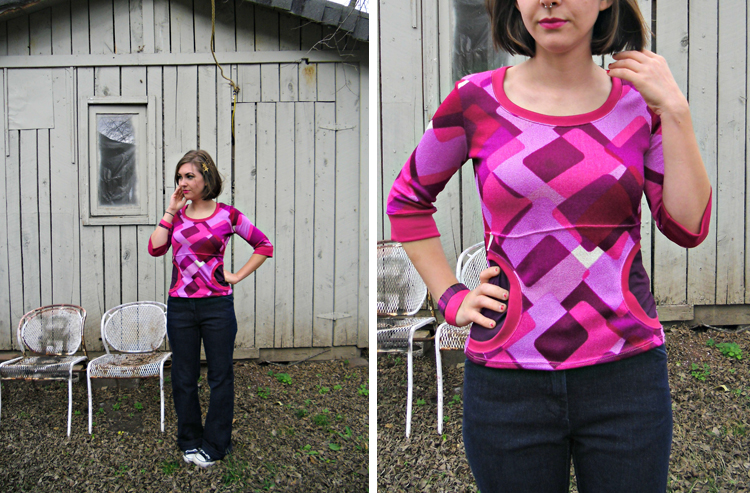 Front Pocket Tee Variation by Lladybird - Stretch Yourself Series at One Little Minute Blog