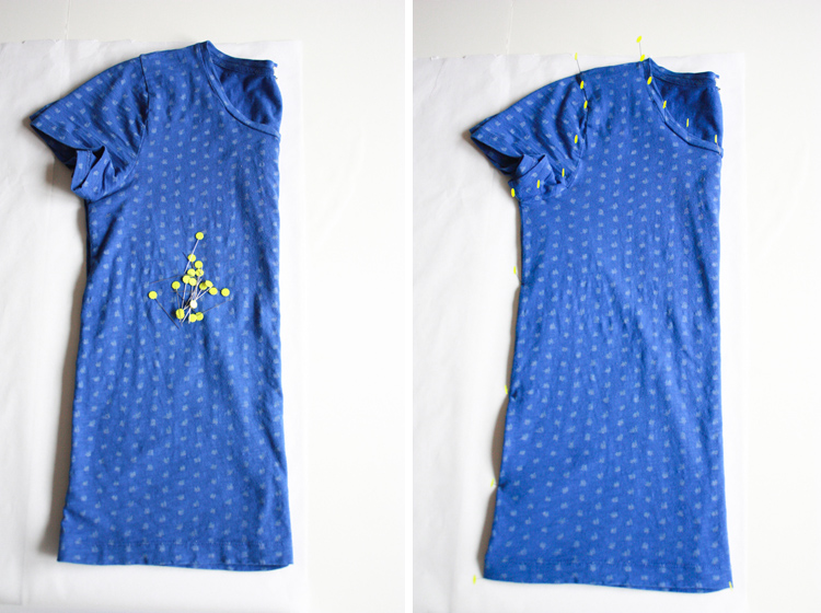 Rub off pattern from a favorite tee - One Little Minute Blog - step one