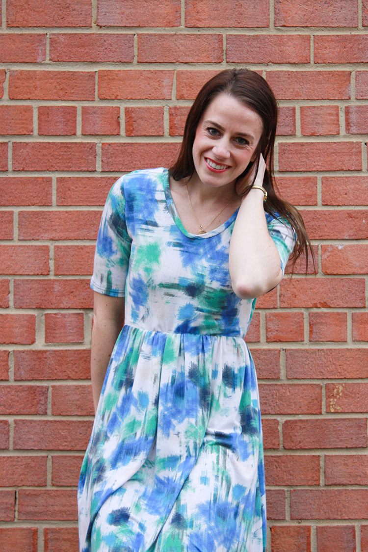 Serger_Coverstitch Techniques- One Little Minute Blog-Watercolor Maxi Dress