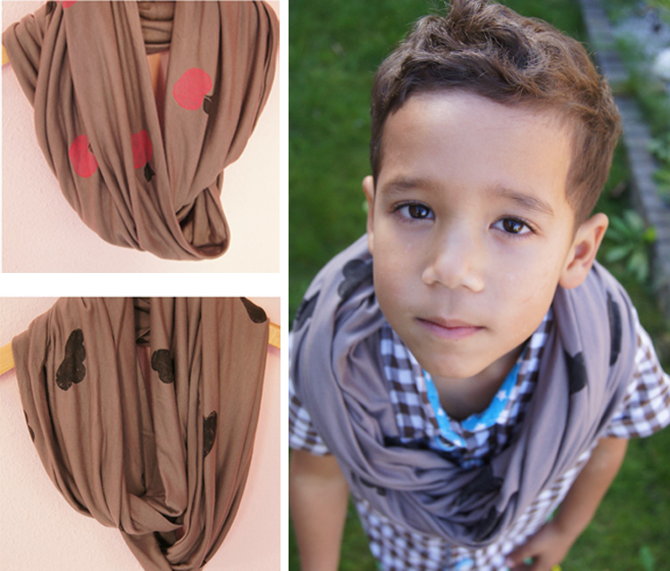 Stamped Infinity Scarf by Anu*Miki- Stretch Yourself Series at One Little Minute Blog