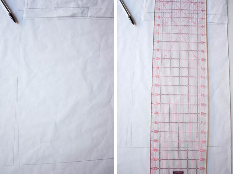 Tee Shirt Dress Variation - One Little Minute Blog- Tracing and Extending Pattern