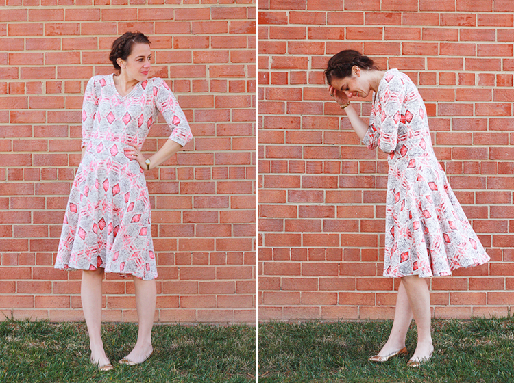 Turn a Tee Pattern Into a Dress - One Little Minute Blog -Cute Tribal circle dress