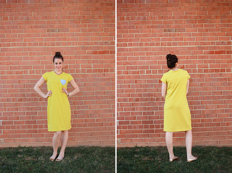 Turn a Tee Pattern Into a Dress - One Little Minute Blog -Simple Tee Shirt Dress