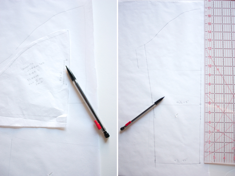 Turn a Tee Pattern Into a Dress - One Little Minute Blog -step four sleeve