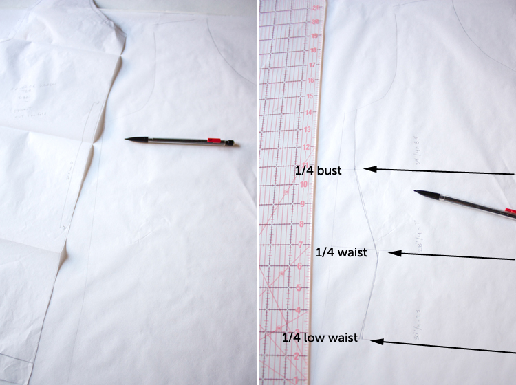 Turn a Tee Pattern Into a Dress - One Little Minute Blog -step two