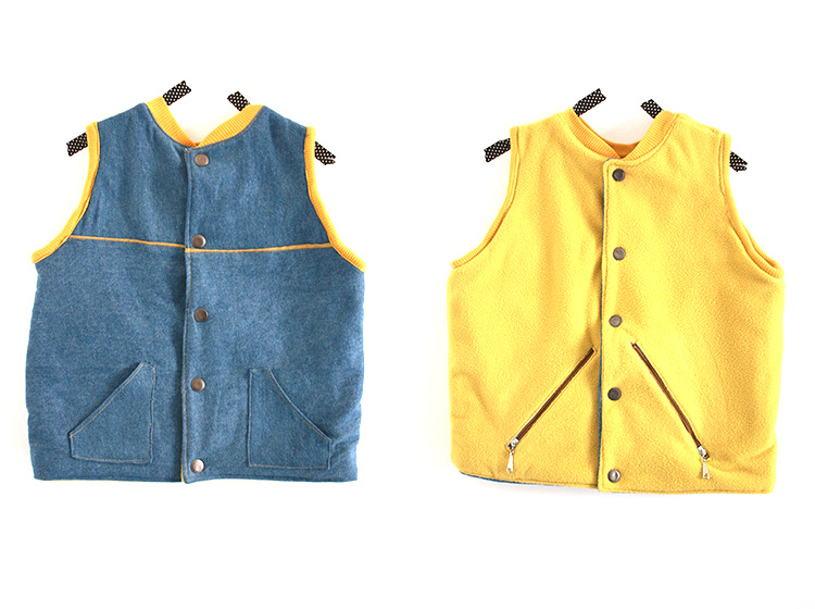 Flip Vest Pattern Review-One Little Minute-Denim and Fleece