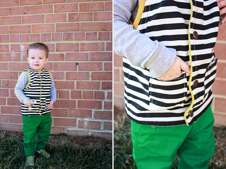 Flip Vest Pattern Review-One Little Minute-Striped Canvas