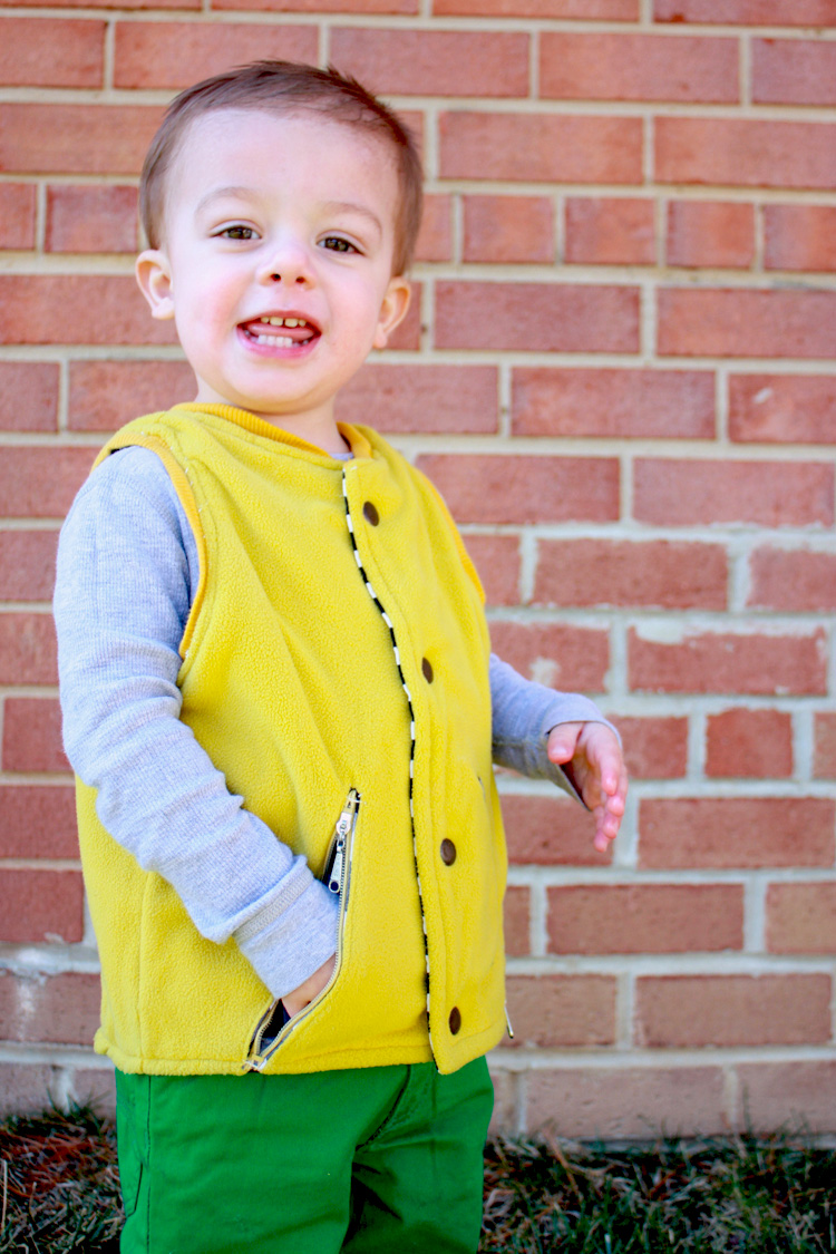 One Little Minute Blog-Flip Vest Pattern Review- Fleece and Stripes