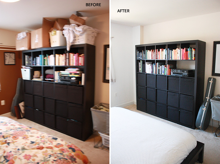 Simple Bedroom Redo-Bookshelf-One Little Minute Blog