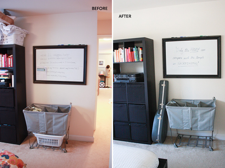 Simple Bedroom Redo-Laundry Bin-One Little Minute Blog