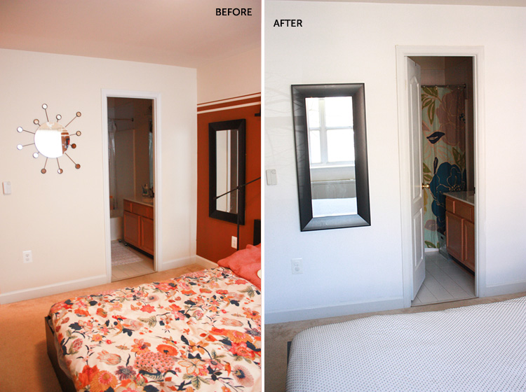 Simple Bedroom Redo-Towards Bathroom-One Little Minute Blog
