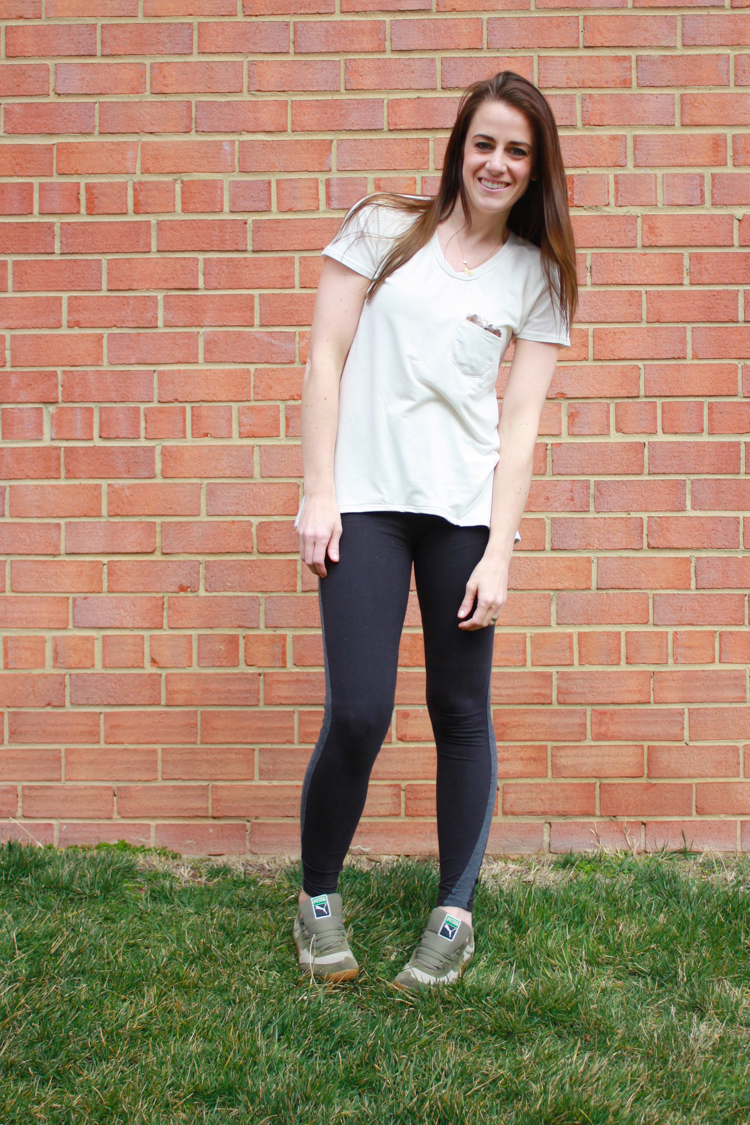One Little Minute Blog-Gold Briar and Tux Stripe Leggings