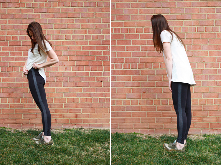 One Little Minute Blog- Tux Stripe Leggings
