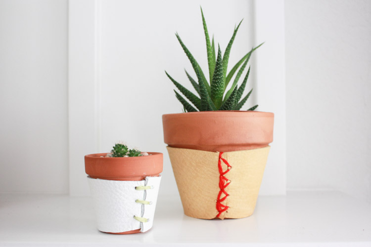 Leather Wrapped Planter DIY-One Little Minute Blog-7