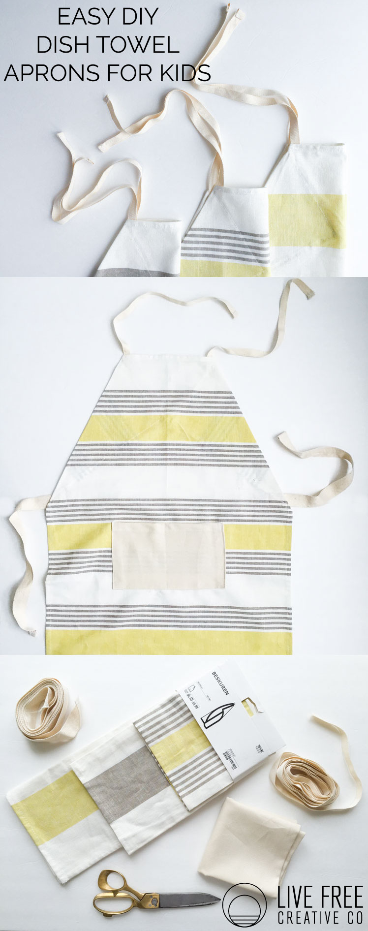 Easy DIY Dish Towel Aprons for Kids- Live Free Creative Co