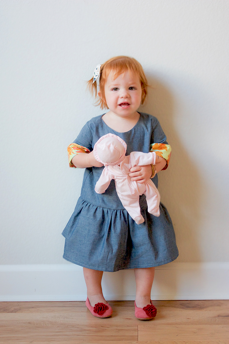 Chambray and Floral Dress-3