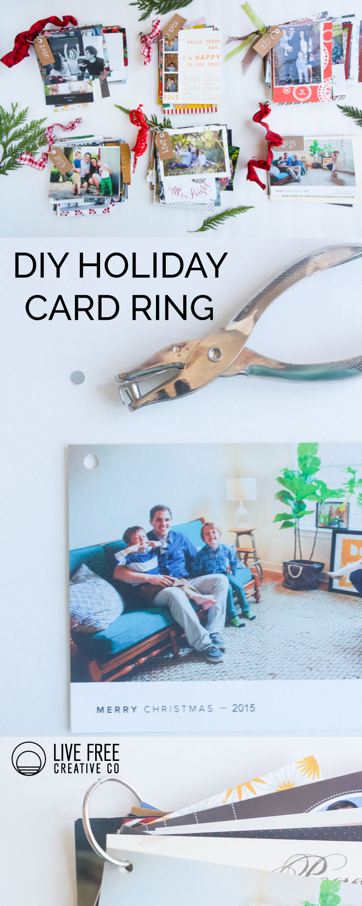DIY Holiday Card Ring | Live Free Creative Co