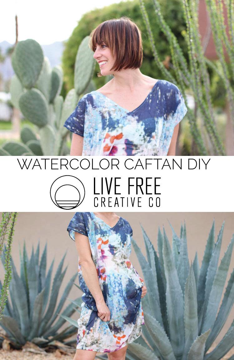 Watercolor Caftan DIY-Live Free Creative Co