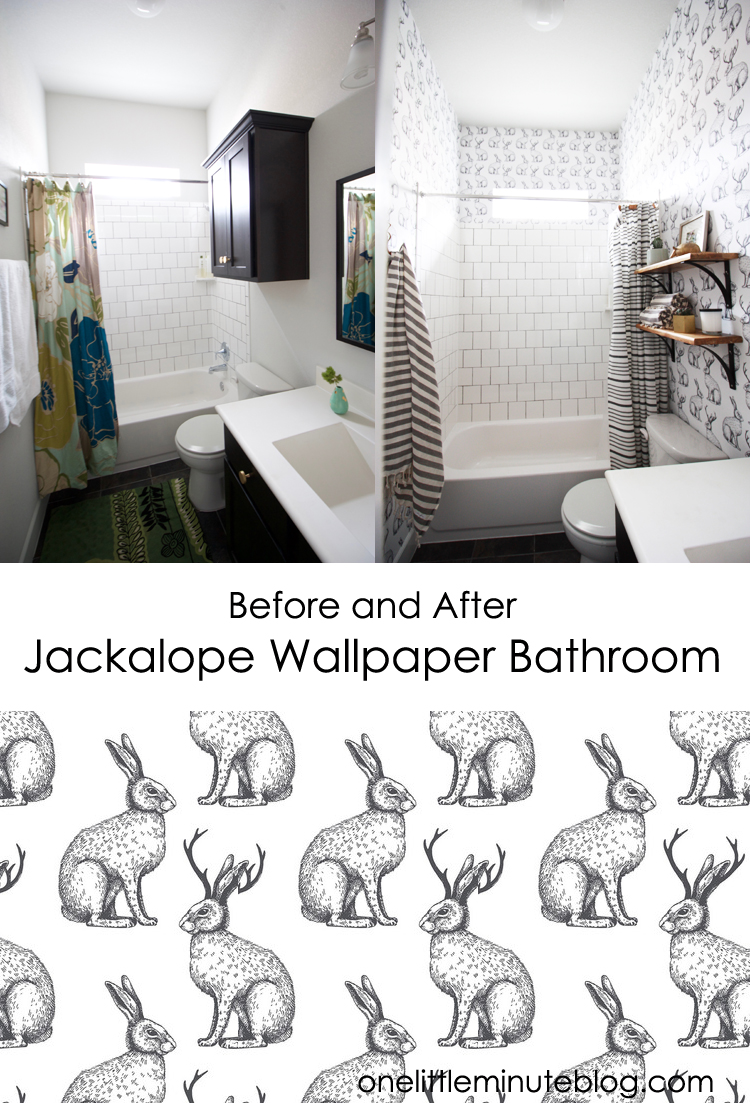 Before and After simple Wallpaper bathroom makeover- One Little Minute Blog