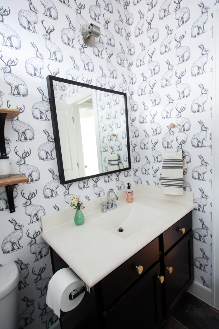 Jackalope Wallpaper over Textured Walls- One Little Minute Blog-30
