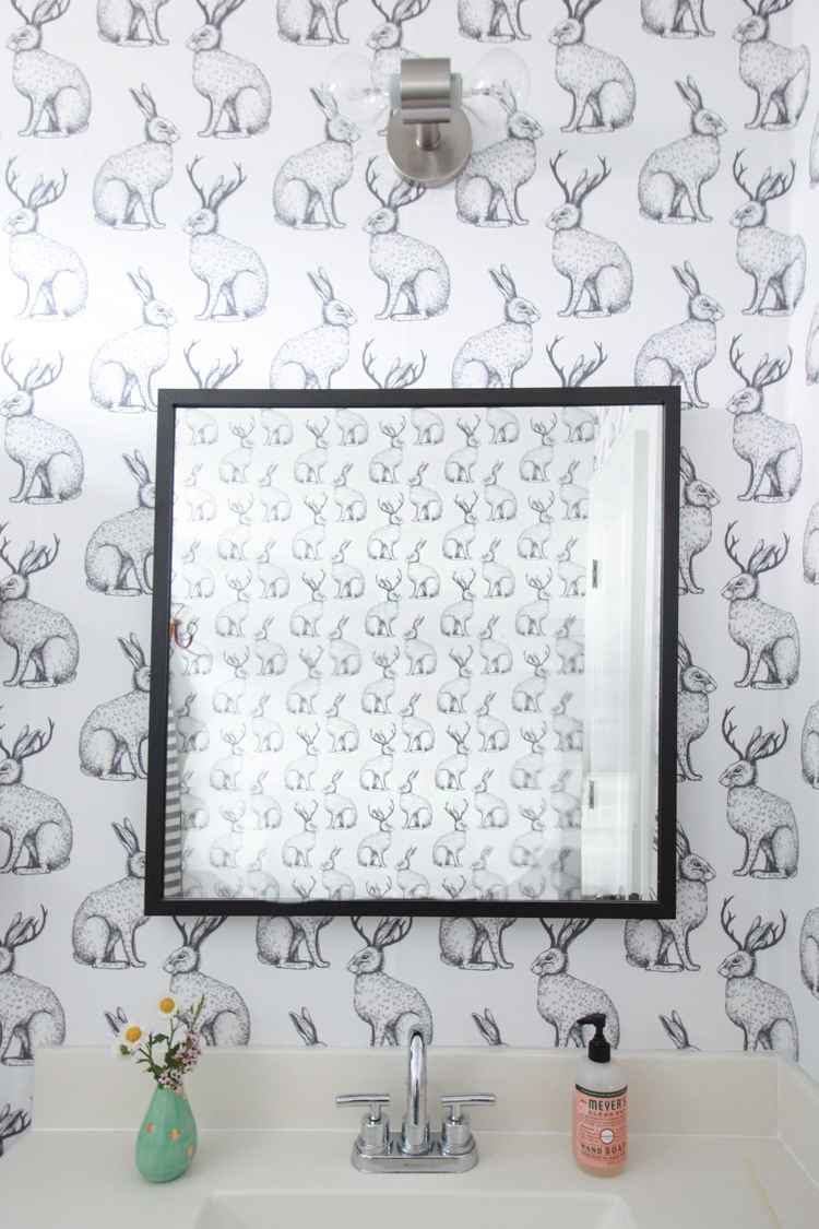 Jackalope Wallpaper over Textured Walls- One Little Minute Blog-31