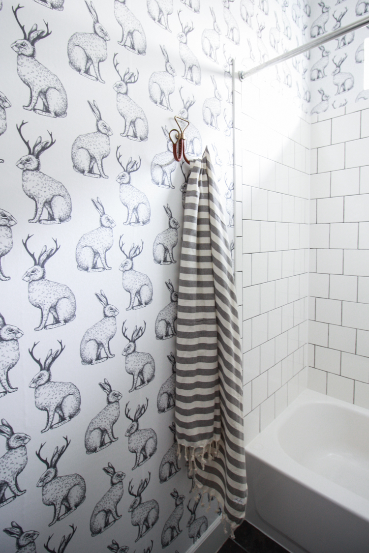 Textured bathroom walls - Jackalope Wallpaper Over Textured Walls One Little Minute Blog 32