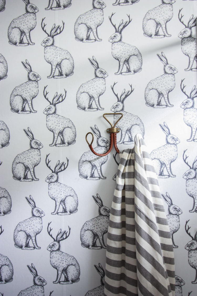 Jackalope Wallpaper over Textured Walls- One Little Minute Blog-35