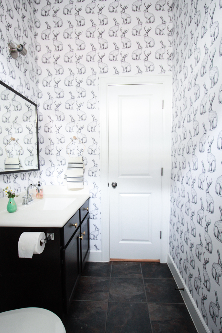 Jackalope Wallpaper over Textured Walls- One Little Minute Blog-36