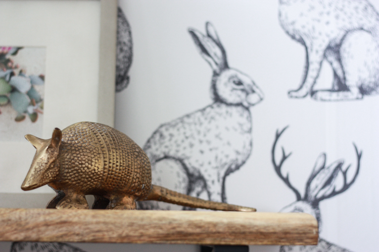 Jackalope Wallpaper over Textured Walls- One Little Minute Blog-42