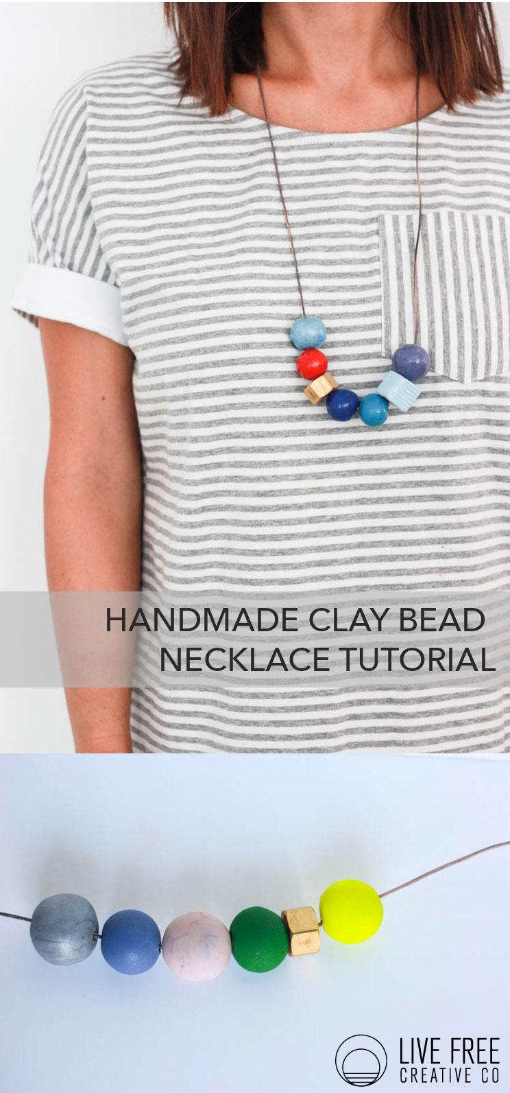 Handmade Clay Bead Necklace- Live Free Creative Co