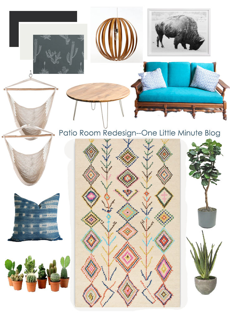 Patio Room Vision Board-Tribal Rug+Buffalo- One Little Minute Blog