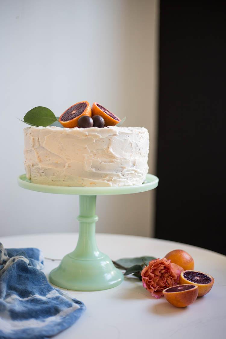 Blood Orange Chocolate Cake with Blood Orange Buttercream and Dark Chocolate Truffles