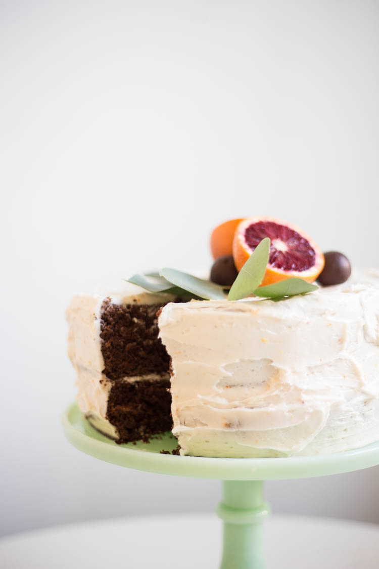 Blood Orange Chocolate Layered Cake with Blood Orange Buttercream