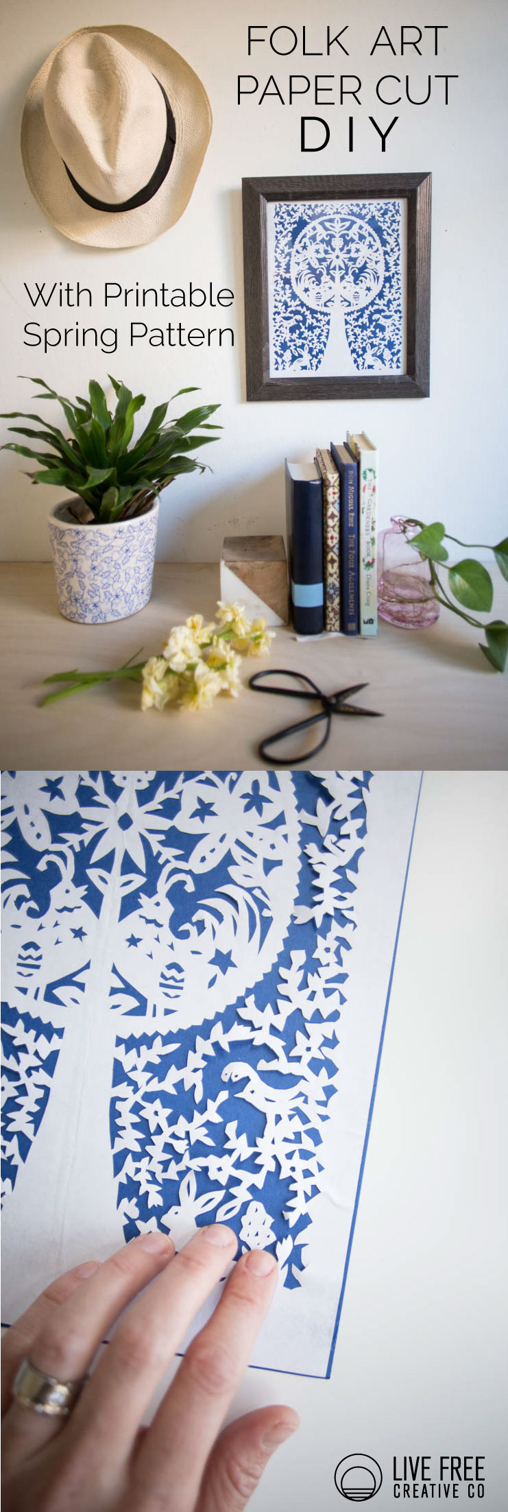 Folk Art Paper Cut Diy With Printable Spring Pattern Live Free Creative Co