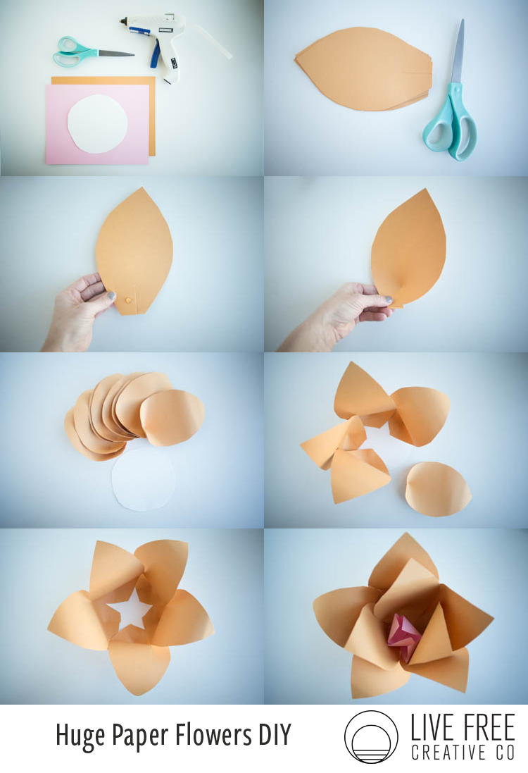 Paper huge paper flowers diy live free creative co gather your supplies plug in the glue gun so its ready when needed mightylinksfo