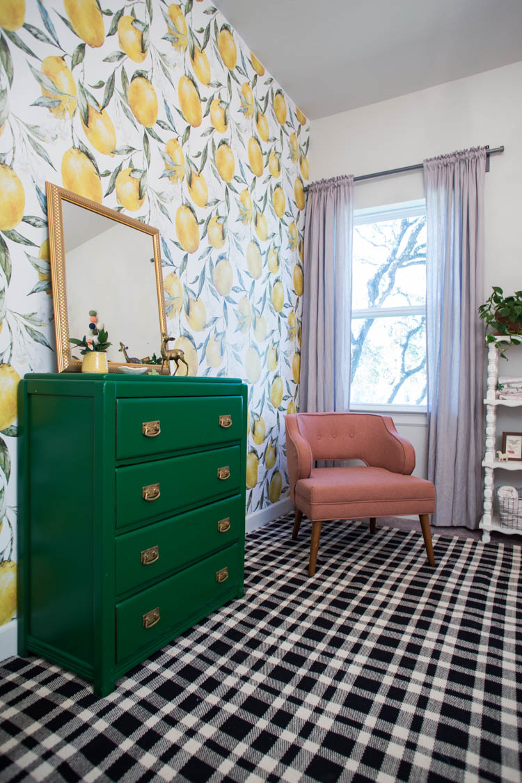 aside from the statement lemon wallpaper the other major change to plumu0027s big girl room was this huge gorgeous tattersall black and ecru plaid rug by