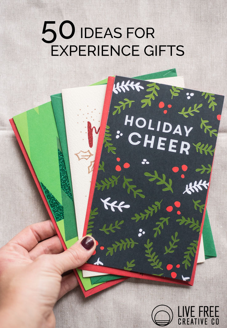 50 Ideas For Gifts of Experience   Live Free Creative Co