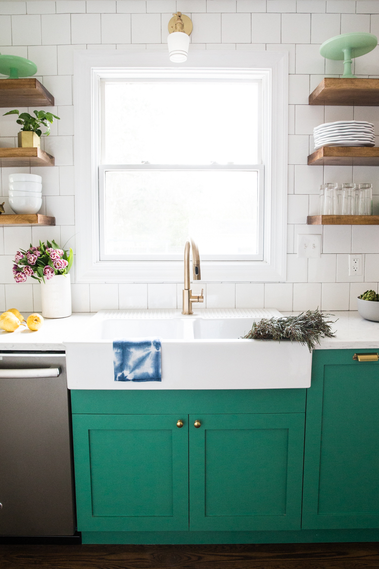 Green Cabinets Small Kitchen Reveal 4 Live Free Creative Co